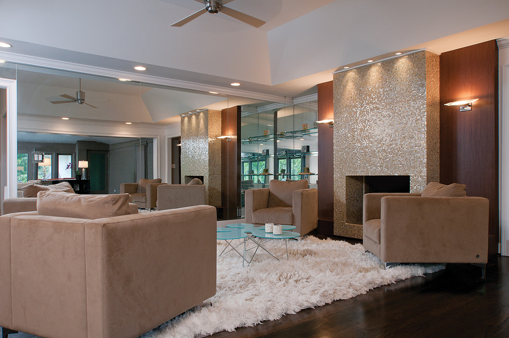 glass-tile-fireplace-family-room-modern-with-brown-armchair-ceiling-fan